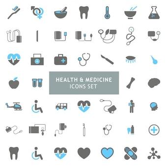 Blauw en grijs Gezondheid en Geneeskunde Icon set