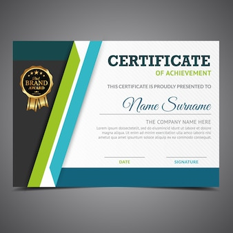 Blauw en groen certificaat van prestatie