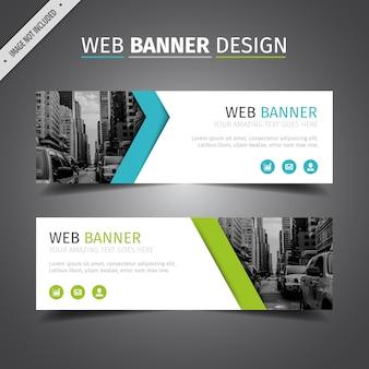 Blauw en groen web banner ontwerp