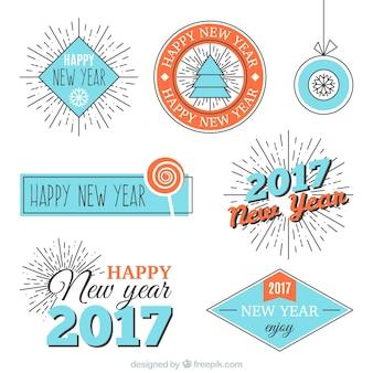Blauw en oranje badges voor het nieuwe jaar