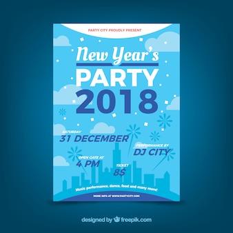 Blauw nieuwjaar feest poster