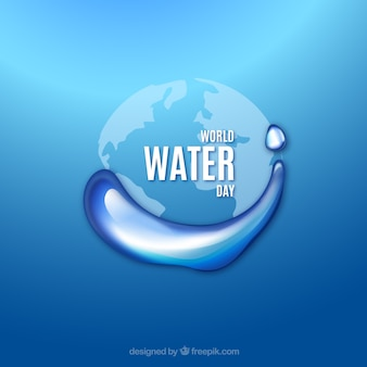 Blauw water Werelddag achtergrond met druppels