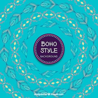 Blauwe achtergrond met decoratieve krans