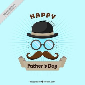 Blauwe achtergrond met een snor, bril en hoed voor vaderdag
