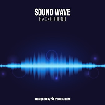 Blauwe achtergrond met geluidsgolf en glanzende vormen