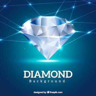 Blauwe achtergrond met glanzende diamant en lijnen