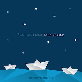 Blauwe achtergrond met sterren en document boten