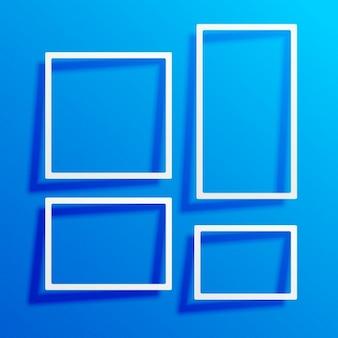 Blauwe achtergrond met witte rand frames