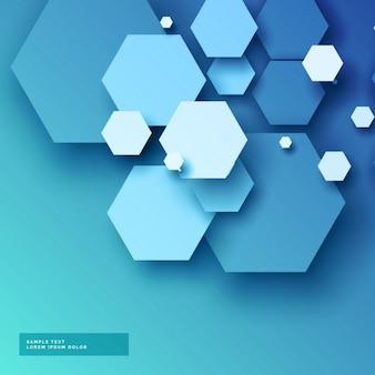 Blauwe achtergrond met zeshoekige vormen in 3D-stijl