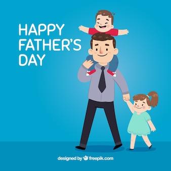 Blauwe achtergrond van vader met zijn mooie kinderen