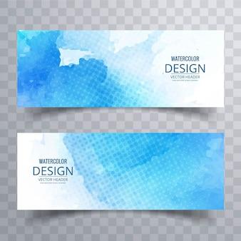 Blauwe banner met punten en aquarellen