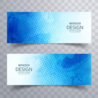 Blauwe banner versierd met stippen en aquarellen