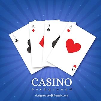 Blauwe casino achtergrond en kaarten