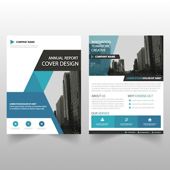 Blauwe driehoek brochure template