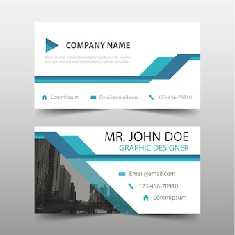 Blauwe driehoek corporate business card template