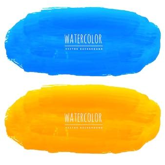 Blauwe en gele achtergrond van de waterverftextuur