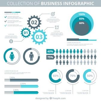 Blauwe en grijze infographic elementen voor het bedrijfsleven