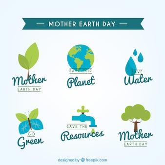 Blauwe en groene stickers in vlakke ontwerp voor moeder aarde dag