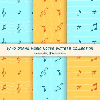 Blauwe en oranje muziek noteert patroon achtergrond collectie