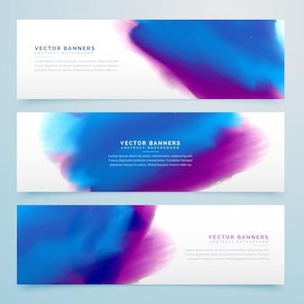 Blauwe en paarse waterverfkoptekstjes