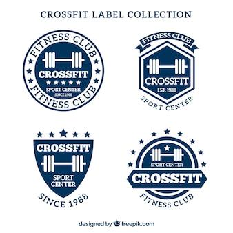 Blauwe en witte crossfit label collectie