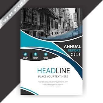 Blauwe en witte zakelijke brochure