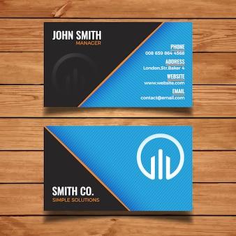 Blauwe en zwarte minimale naamkaart