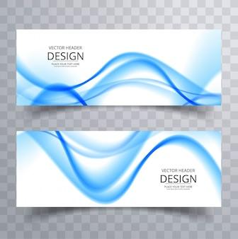 Blauwe golvende banners