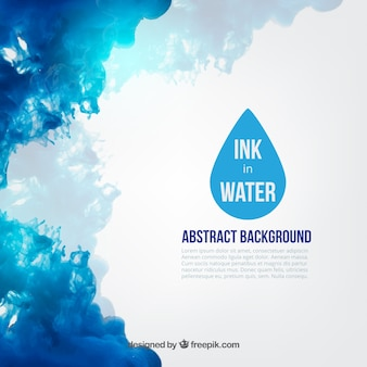 Blauwe inkt in water
