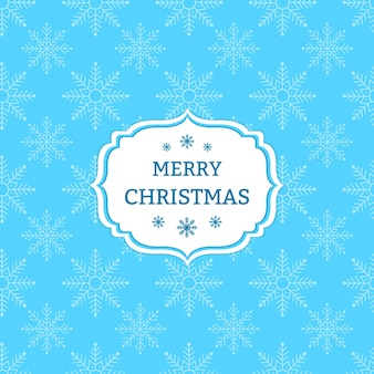 Blauwe Kerstkaart met sneeuwvlokken