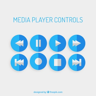 Blauwe mediaspeler controles