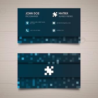 Blauwe pixel visitekaartje