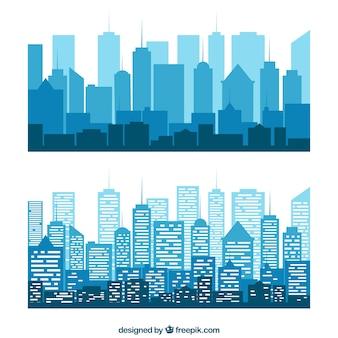 Blauwe silhouetten van gebouwen
