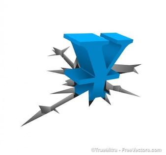 Blauwe symbool van de yen