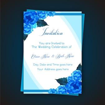 Blauwe uitnodiging van het bloemhuwelijk