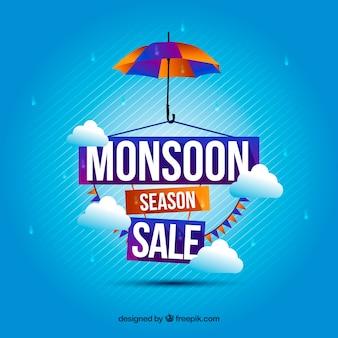 Blauwe verkoop achtergrond van moesson