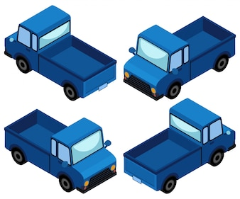 Blauwe vrachtwagen in vier verschillende hoeken