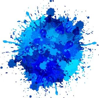 Blauwe waterverf splash