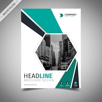 Blauwgroen en wit zakelijke brochure ontwerp