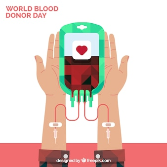 Bloed donor achtergrond in plat ontwerp