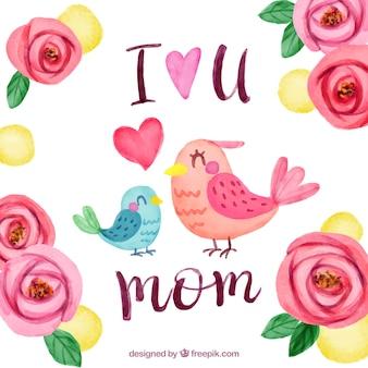 Bloemen achtergrond met vogels voor moederdag