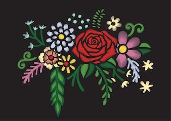Bloemen borduurwerk achtergrond