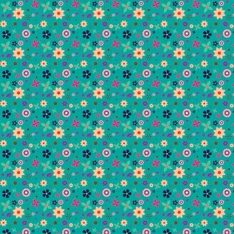 Bloemen patroon met aquamarijnachtergrond