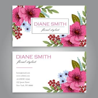 Bloemen stijl adreskaartje sjabloon
