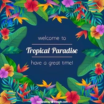 Bloemen tropisch paradijs achtergrond