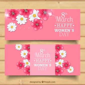 Bloemen vrouw dag banners