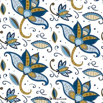 Bloempatroon de hand getekend in batikstijl