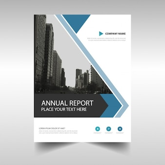 Blue abstract driehoek brochure template design