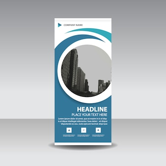 Blue creatieve Roll up banner template cirkel