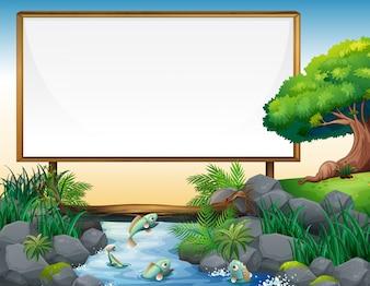 Board template met rivier in de achtergrond